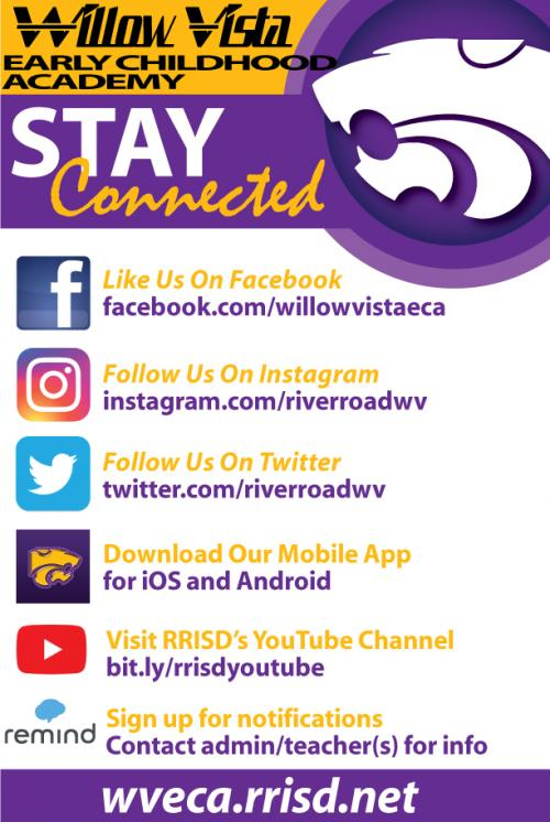 stay connected to willow vista social media
