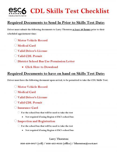 CDL Test Checklist
