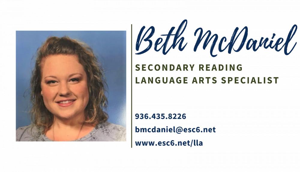 Beth McDaniel bmcdaniel@esc6.net 9364358226