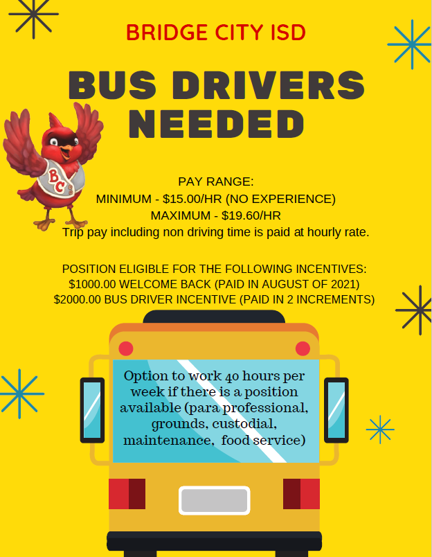 bus drivers needed flyer
