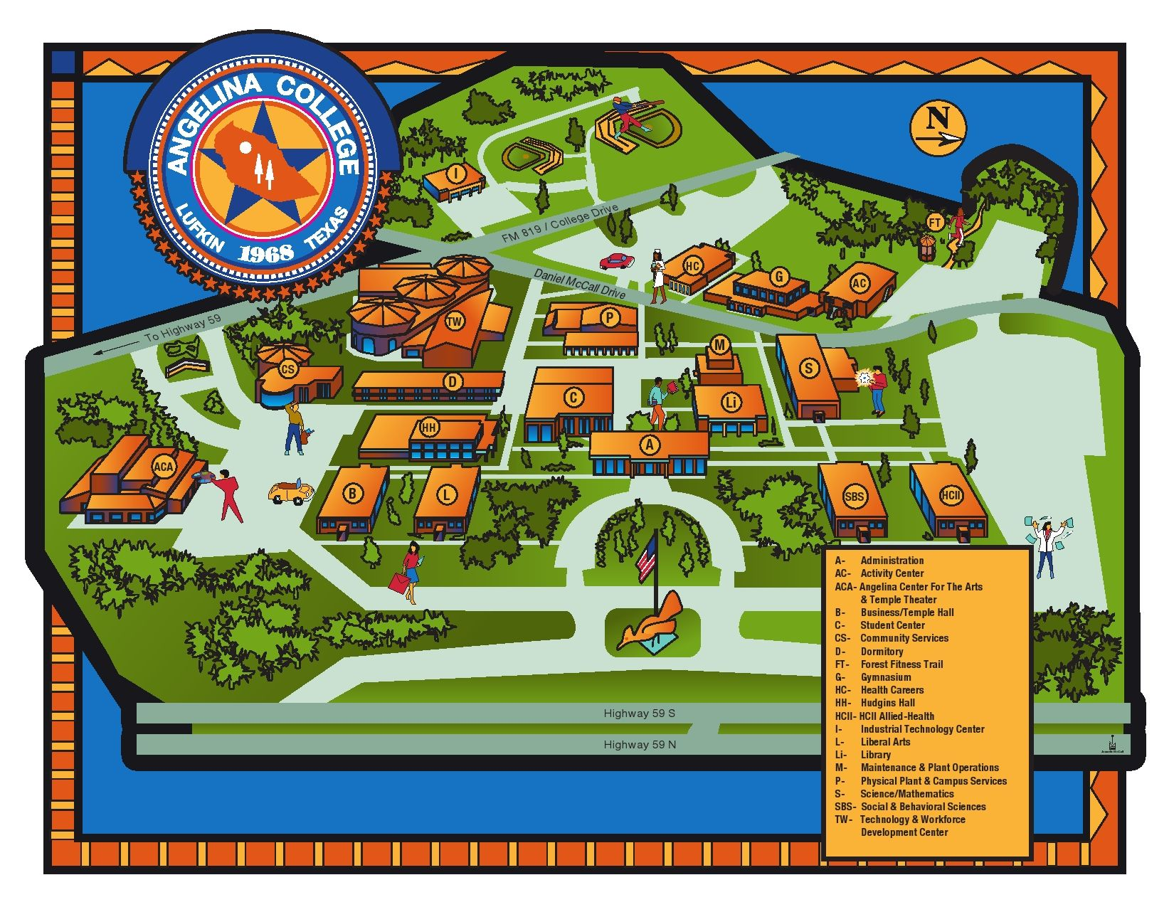 Map of Angelina College