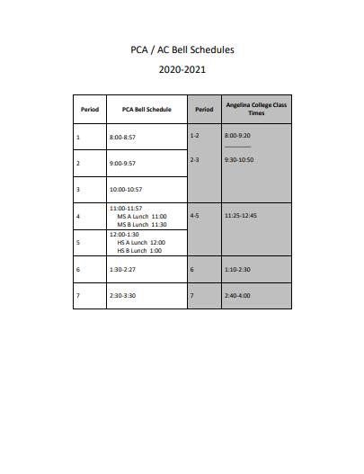 PCA / AC Bell Schedules