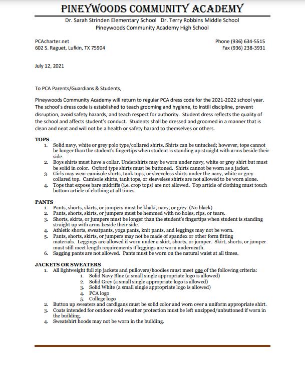 2021-22 Dress Code Letter