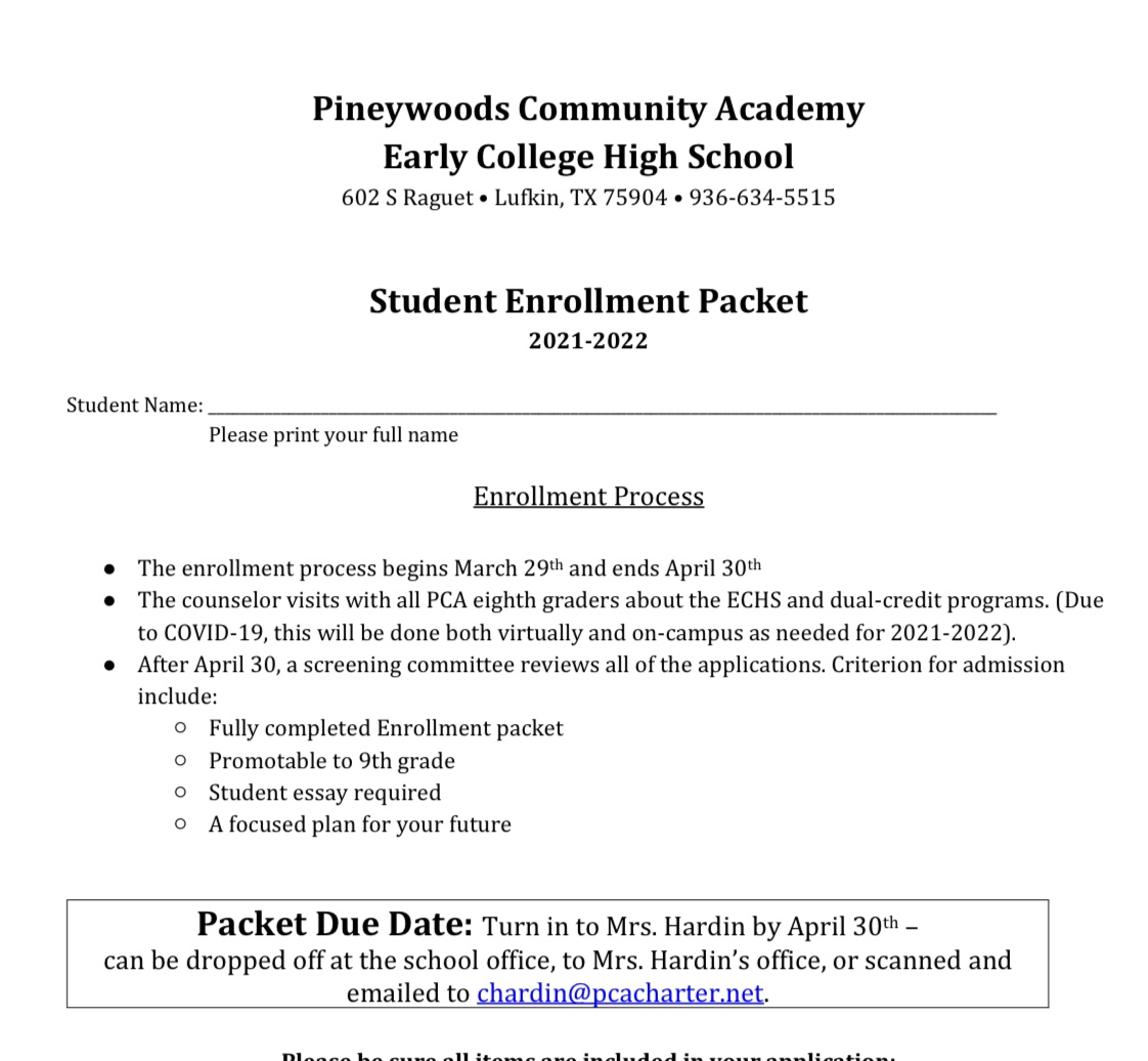 ECHS Enrollment Packet