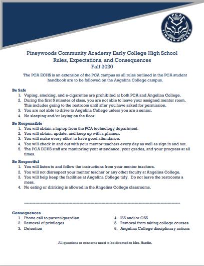 PCA ECHS Rules
