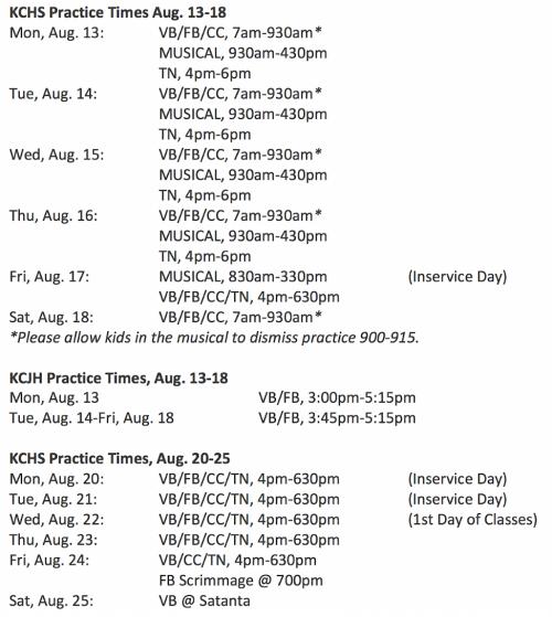 HS Practice Schedule