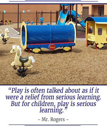 Play is often talked about as if it were a relief from serious learning. But for children play is serious learning. Mr. Rogers.