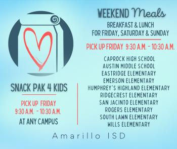 Free Weekend Meals & Snack Paks Available for Students on Friday, February 2021