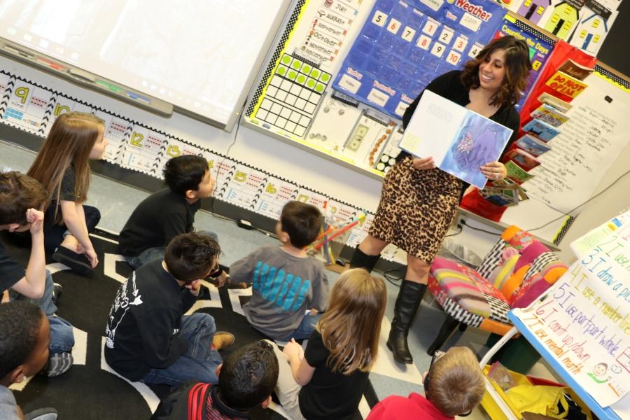 Educator teaching students