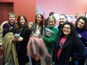 OHS Speech Students with another costumed character.