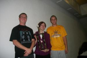 Seniors Sawyer, Mary, and Ben with the Class 3A Sweepstakes Trophy!