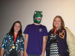 tournament champ and runner-up in prose, Mercedes and Erin, w/ Dino boy.
