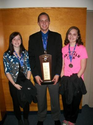 Mercedes, Ben, and Megan with their third-place sweepstakes award