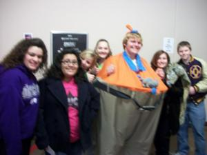 Dr. Jones had SWOSU students dressed in costumes to help w/ the awards!
