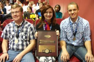 Seniors-Sawyer, Mary, and Ben with the fourth-place state plaque. (Sawyer was fourth in foreign extemp; however, my pictures of him didn't turn out.)