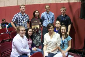 The state squad with the hardware:  Sawyer, Mary, Ben, Tom, Erin, Mercedes, Mackenzie, and Megan.