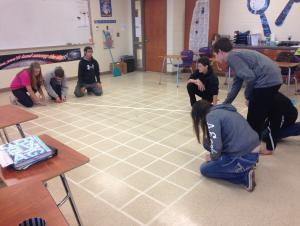 Students creating our life-sized coordinate grid