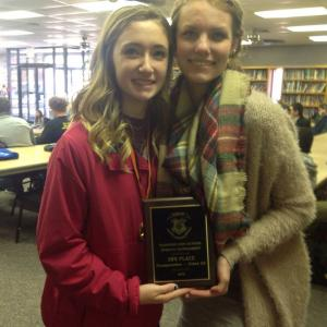 Seniors Macy and Sydney with the runner-up plaque in class 3A