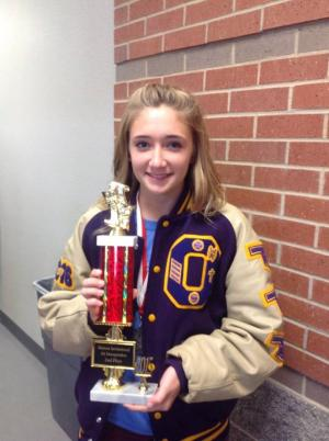 Senior Macy with the 2nd place sweepstakes trophy.