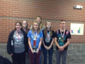 Hinton squad-Savannah, Leah, Macy, Abby, Mackenzy, and Austin.