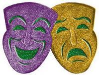 Purple and gold drama masks