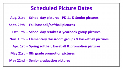 SCHEDULED PICTURE DATES