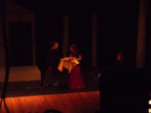 Medea entrusts the nurse with the gifts.  (Megan as nurse, another all-star cast member.)