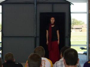 Medea (Mary) makes her entrance.