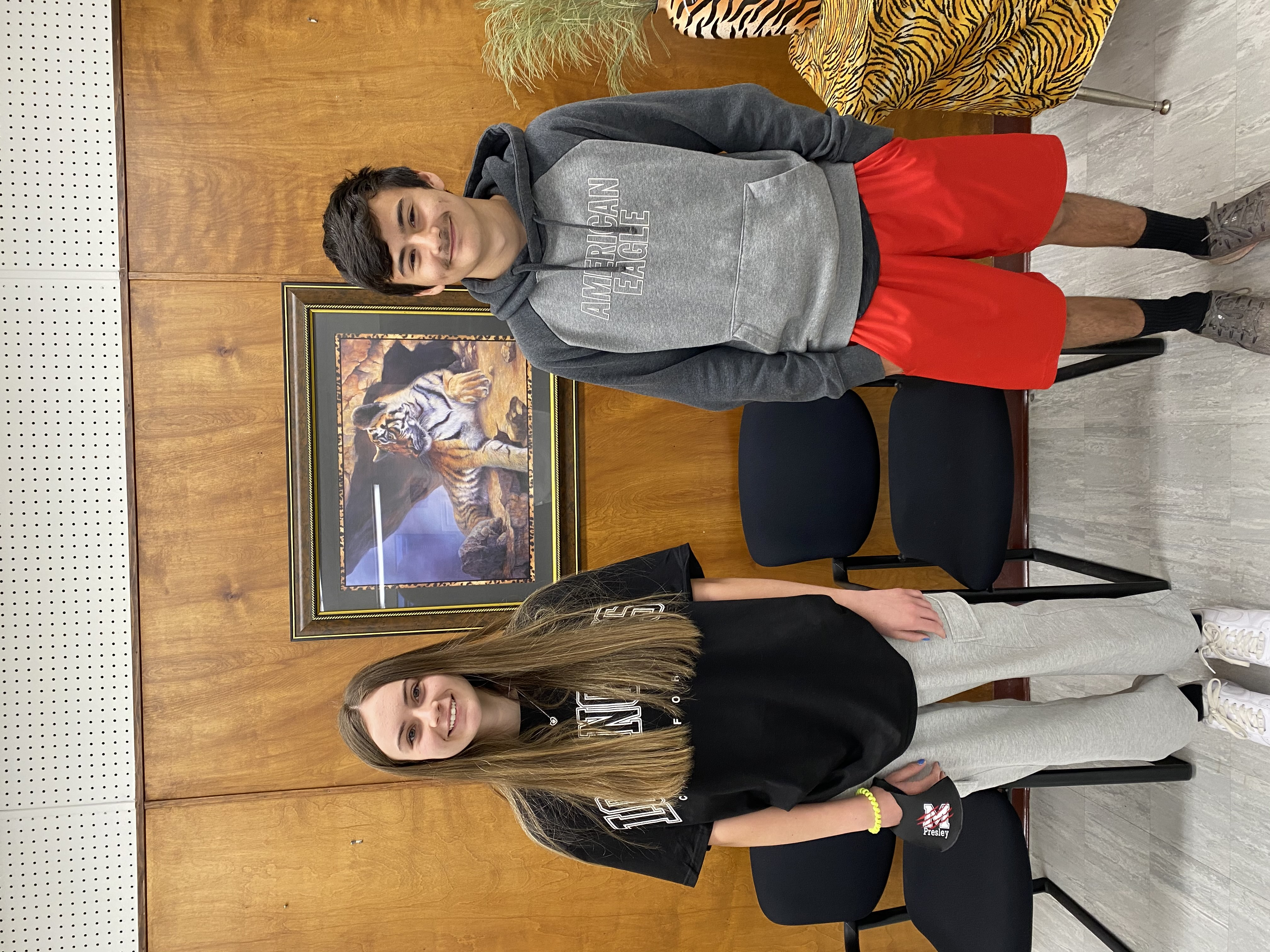 8th Grade April Students of the Month Austin Ruiz & Pressley Curry