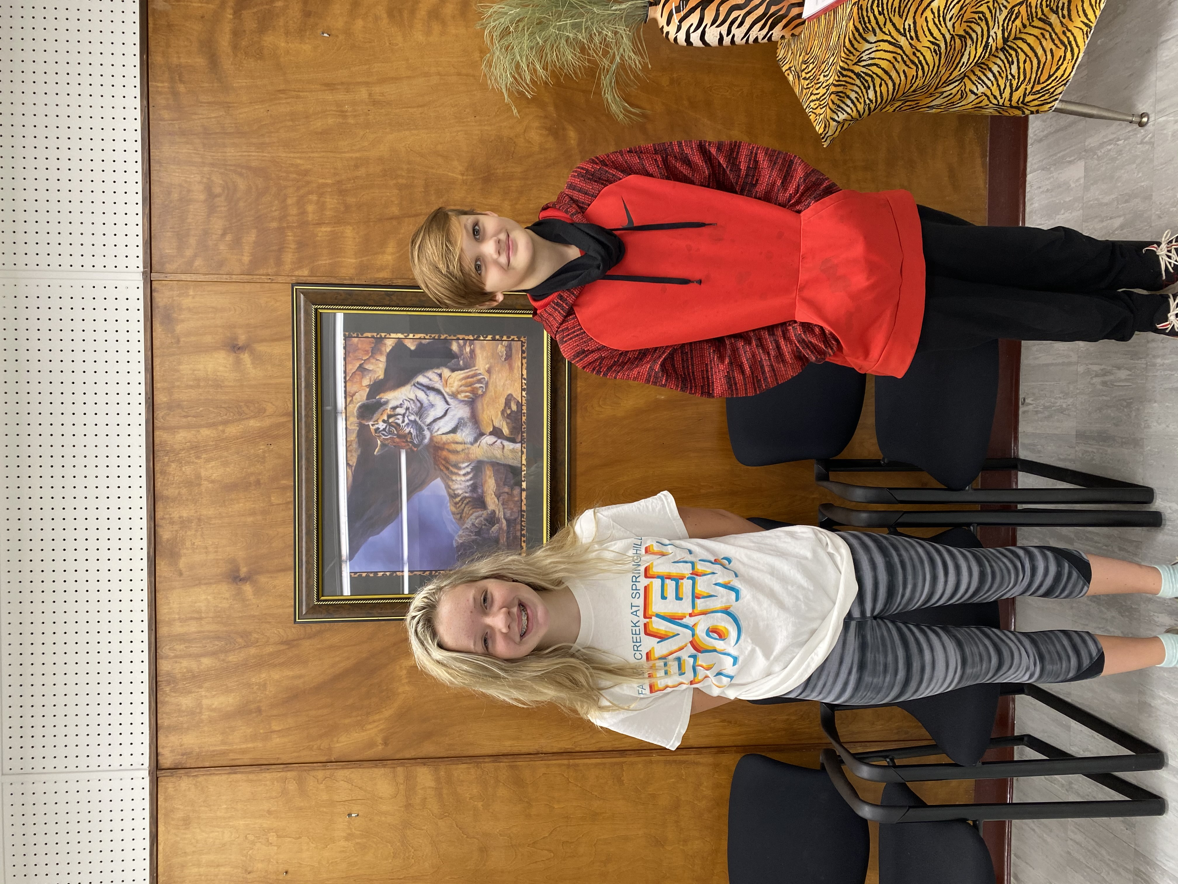 7th Grade Students of the Month Madison Hearron & Rylan Nichols
