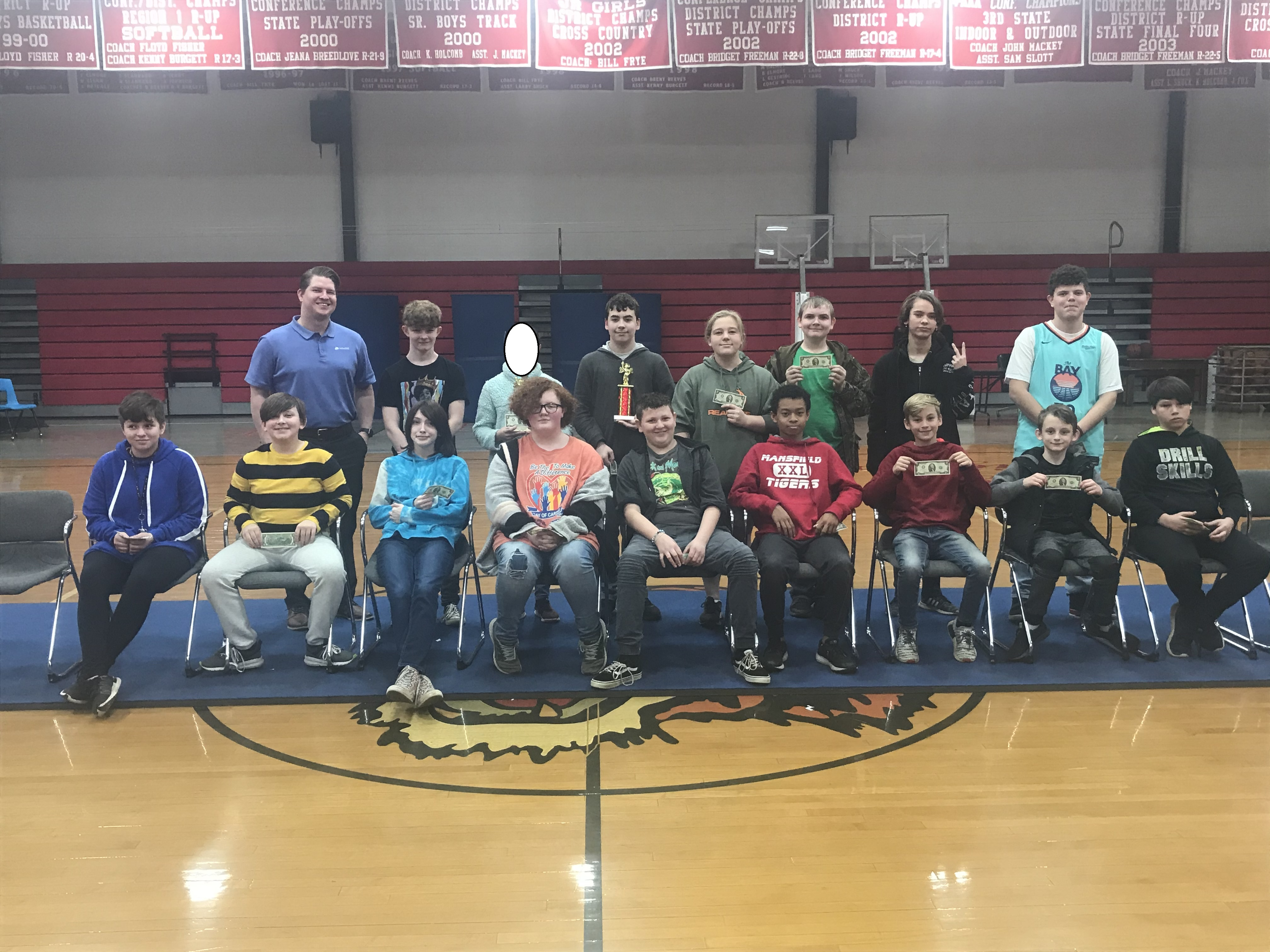 7/8 Spelling Bee Participants & their $2.00 from Farmer's Bank