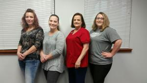 From L to R: Valerie Davidson LPN, HS Nurse; Miranda Collier LPN, MS Nurse; Nina Jones RN, SBHC Nurse; Monica Chapman RN, Elem Nurse