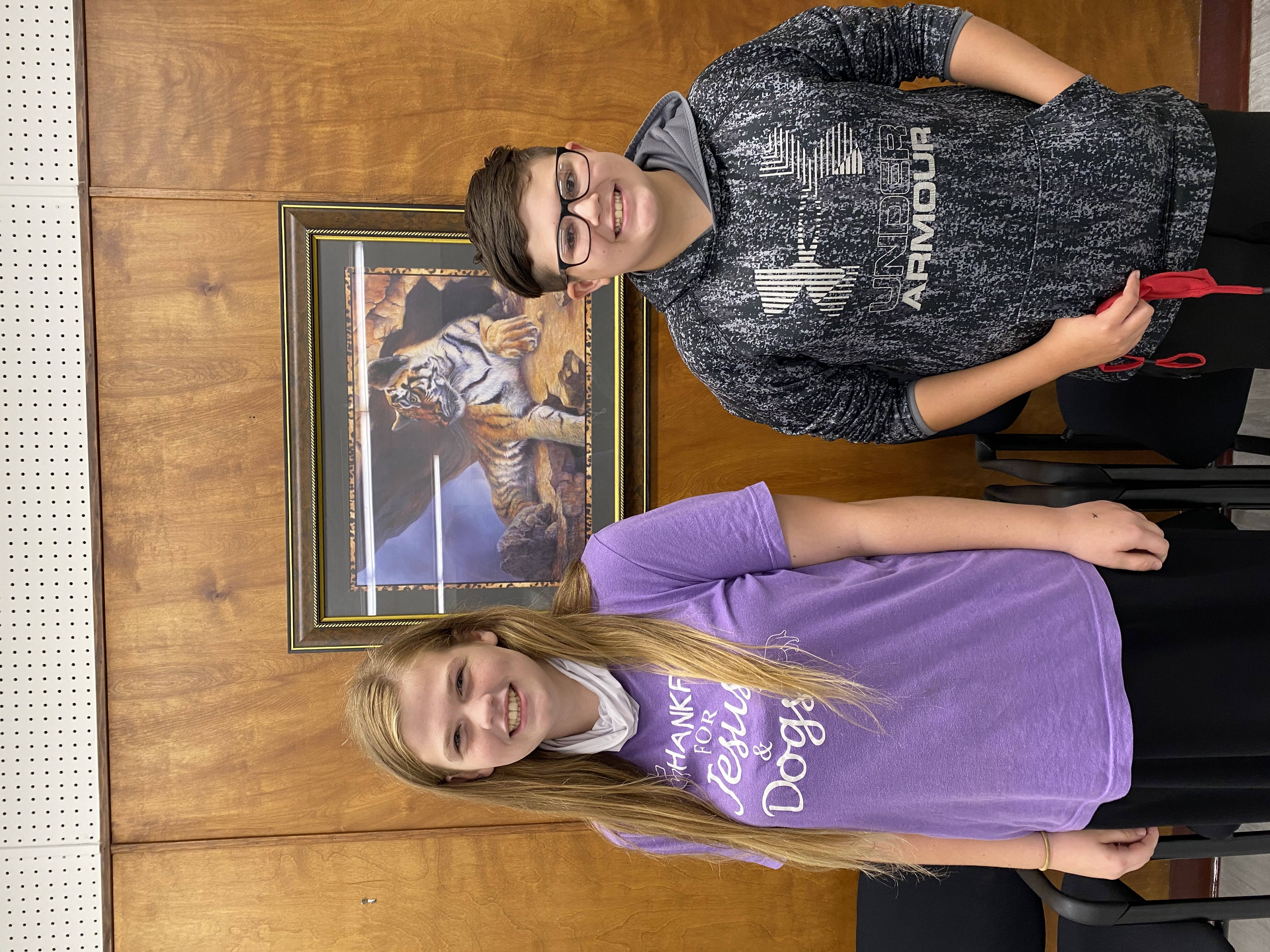 8th Grade Students of the Month Carissa Vaughn & Jeremy Cook