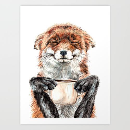 fox with tea