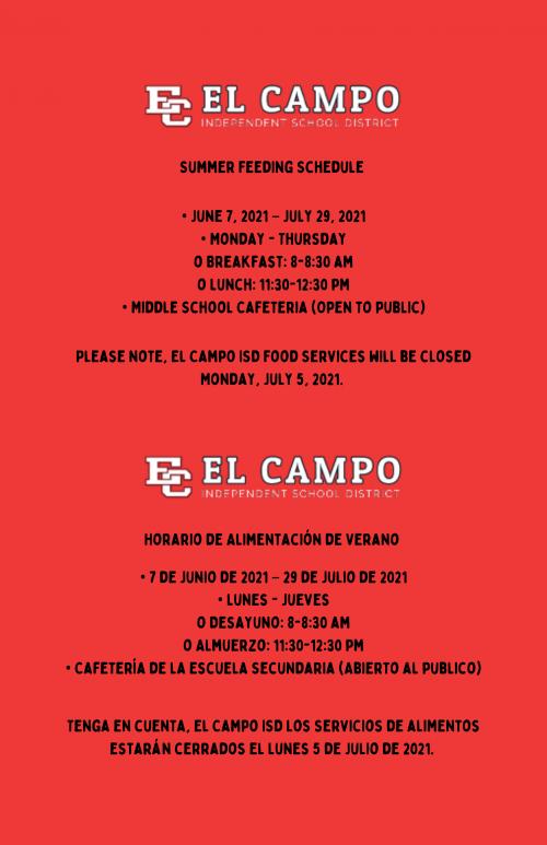 Summer Feeding Schedule