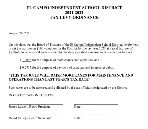 Proposed tax levy