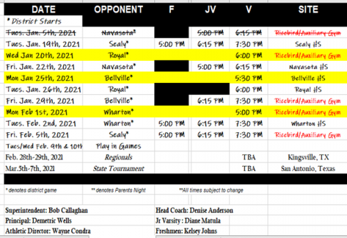 Updated Girls Basketball Schedule