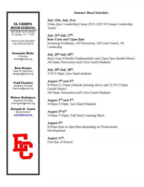 Summer Band Schedule