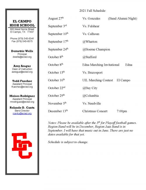 Fall Band Schedule