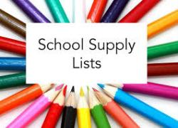 School Supply Lists - as of 8/6/20