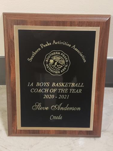 plaque for Mr. Anderson coach of the year