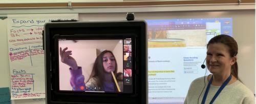 Mrs. Crispell teaching remotely