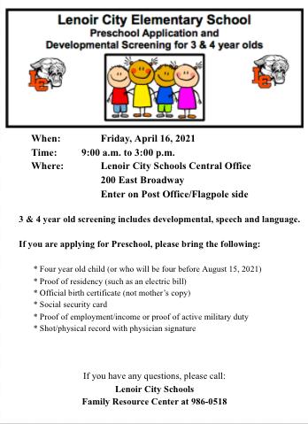 Lenoir City Elementary School Preschool Application
