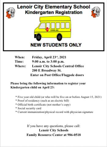 Lenoir City Elementary School Kindergarten Registration