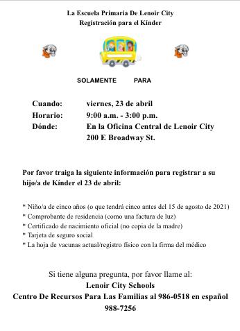 Lenoir City Elementary School Kindergarten Registration Spanish