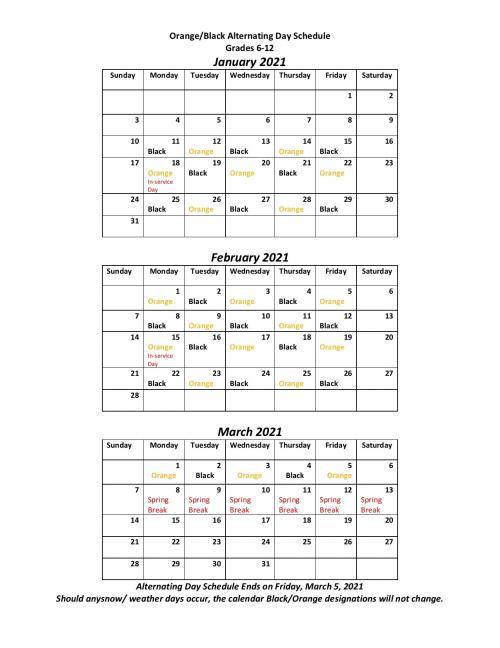 Alternating Day Schedule