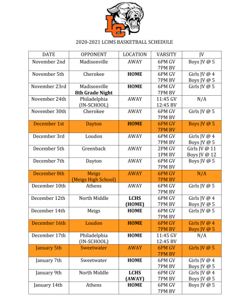 LCIMS Basketball Schedule