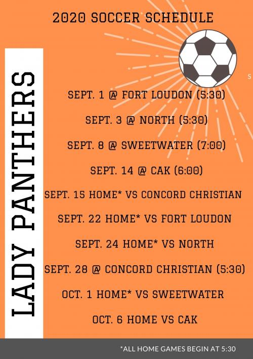 2020 Lady Panther Soccer Schedule