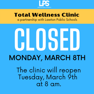 Clinic Closed Monday, Mar. 8