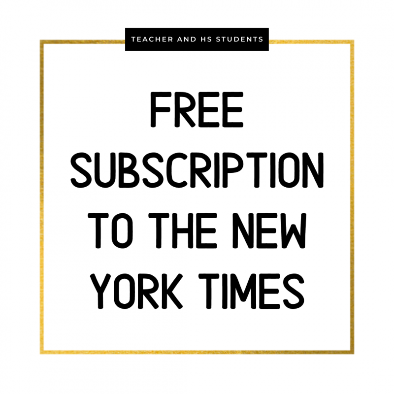 Free Subscription to the New York Times